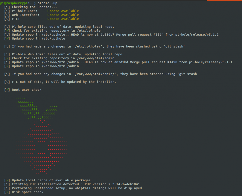 Pi-hole update command output