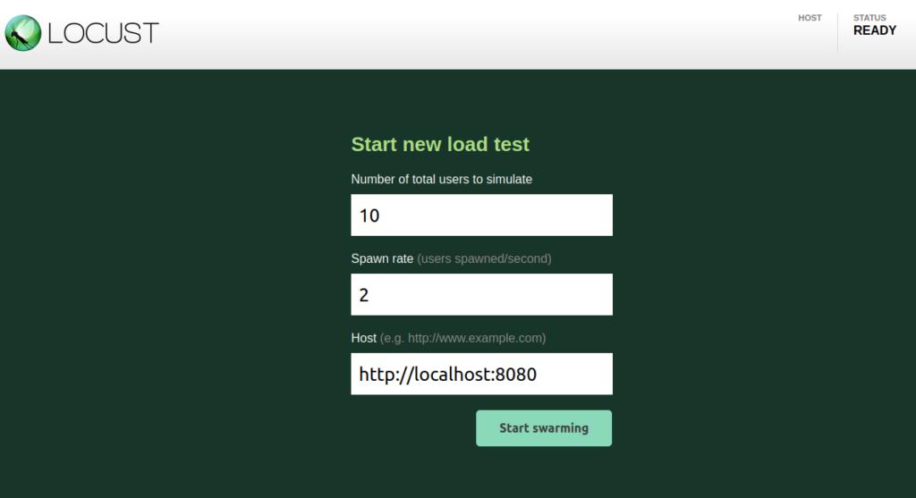 Locust UI: configure and run the test